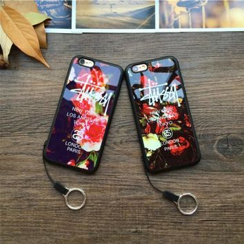 Fashion Luxury stussy Flower Mirror Case Mobile phone shell For iPhone 7 7Plus 5 5s 6 6s 6Plus 6s Plus
