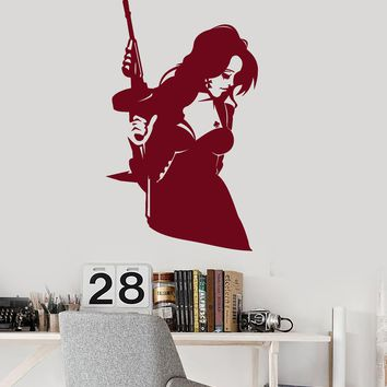 Vinyl Wall Decal Sexy Girl With Weapon Tommy-Gun Clubs Stickers (2208ig)
