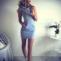 Grey Hoodie Dress With Pocket