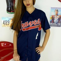 Vintage 90's MLB Atlanta Braves Baseball Jersey Top from The Vintage Scene