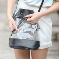 Clear Bucket Bag Black Leather Purse Transparent Cross Body Bag Messenger Handbag Party Travel Shoulder Bag