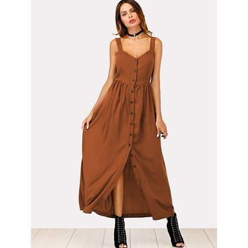 Camel Solid Button Through Cami Dress