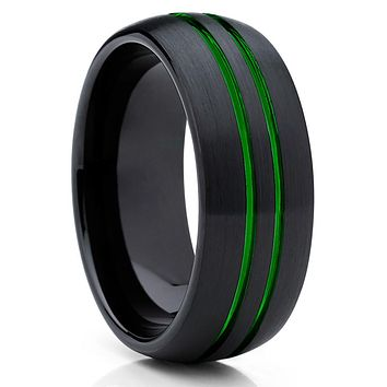 Green Tungsten Wedding Band - Green Ring - Green Tungsten Ring - 8mm