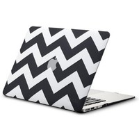 "Kuzy - AIR 13-inch Chevron BLACK Rubberized Hard Case for MacBook Air 13.3"" (A1466 & A1369) (NEWEST VERSION) Shell Cover - Chevron BLACK"