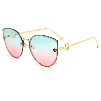 FENDI Trending Women Stylish Cute F Letter Summer Sun Shades Eyeglasses Glasses Sunglasses 4# I13798-1