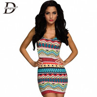 Multi Colored Body Con Sleeveless