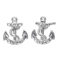 Soufeel Sterling Silver Plated Anchor Stud Earrings