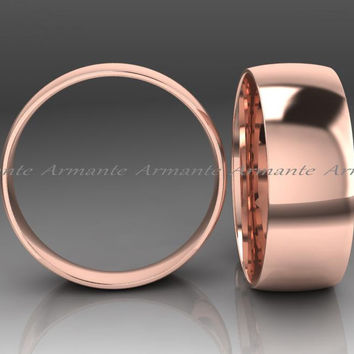 8.00mm Wide Wedding Band, Solid Gold Wedding Band 14k Rose Gold Band, Hand Made Wedding Band, Rounded Design.