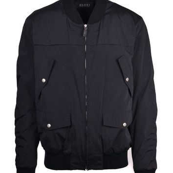 Gucci Men's Black Polyester Solid Zip Cuff Sleeves  Bomber Jacket