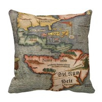 Munster's Old Worldly Map of America Throw Pillow
