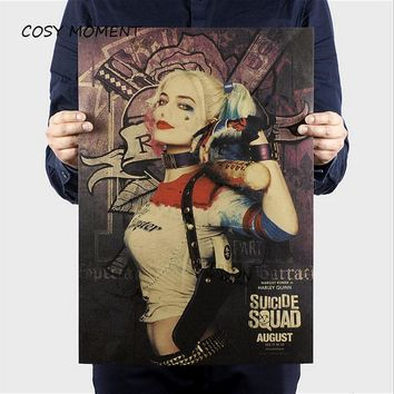 COSY MOMENT Vintage Harley Quinn Suicide Squad Movie Poster Retro Kraft Paper Bar Home Decor Painting Wallpaper QT165