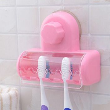 ac NOOW2 New Dust-proof Toothbrush Holder for the Bathroom Toothpaste Family Holder for Toothbrush Suction Holder Wall Stand Hook 1018