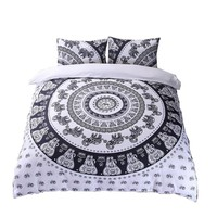 Elephant Circle Black White Tapestry Duvet Cover SET