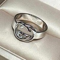 GUCCI 925 Silver Popular Women Chic GG Letter Ring Accessories Jewelry