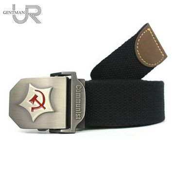 New Men Belt Thicken Canvas Communist Military Belt Army Tactical Belt High Quality Strap 110 130