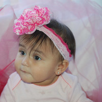 Light Over Dark Pink Little Girl Headband with Large Pink and White Heart Polka Dot Lace Flower