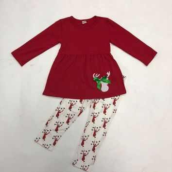 New Arrival Christmas Red Deer Pattern With Bow White Legging