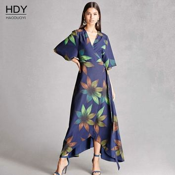 Haoduoyi 2018 New Irregular Kimono Summer Lace up Belt Floral Print Bohemian Dress Casual Maxi Long Dresses Women Beach Vestidos