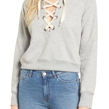 Sincerely Jules Lace-Up Crop Sweatshirt | Nordstrom