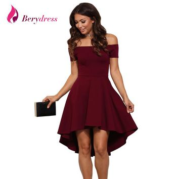 Berydress Elegant Women Sexy Cocktail Party Skater Dress Off Shoulder with Sleeves Stretchy Burgundy High Low Dresses 2017 S-3XL