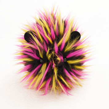 Zena the Pink Yellow and Black Spikey Guinea Pig Stuffed Plush Toy