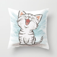 Cat Throw Pillow by Toru Sanogawa