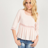 Crochet Detail Simple Top - Light Pink - Large