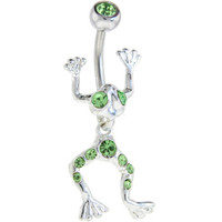Imperial Green LEAPING FROG Dangle Belly Ring | Body Candy Body Jewelry