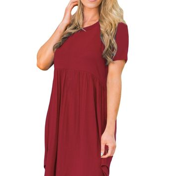 Chicloth Short Sleeve Pullover Babydoll Style Casual Dress