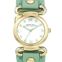 Marc By Marc Jacobs Molly Mint Leather Strap Watch