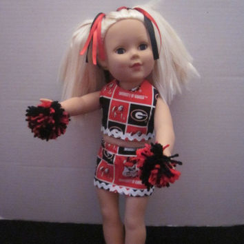 American Girl 18 Inch Our Generation Doll Clothes Cheer Uniform Using Georgia Bulldogs Fabric Cheer Outfit By Sweetpeas Bows & More