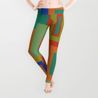 Colorful Geometric Squares Leggings by Artistic Home Accessories