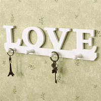 Vintage White LOVE Hook Clothes Robe Key Holder Hat Hanger Wall Home Decoration