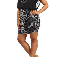 Leo Print Bodycon Dress - Black - Plus Size - 1x - 2x - 3x
