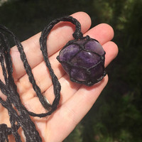 Hemp Necklace: Amethyst Stone Wrapped with Hemp Cord, Hemp Jewelry, Crystal Necklace, Crystal Jewelry, Macrame, Amethyst, Healing Stone