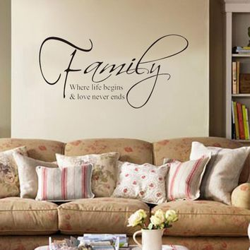 """""""Family Where Life Begins Love"""" DIY Art Wall Stickers Quote Decal Home Decor Mural (Size: 60cm by 22.5cm, Color: Black)"""