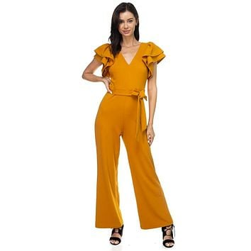 Womens Casual Fashion Sleeve V-neck Jumpsuit