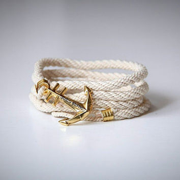 White rope cotton bracelet with anchor