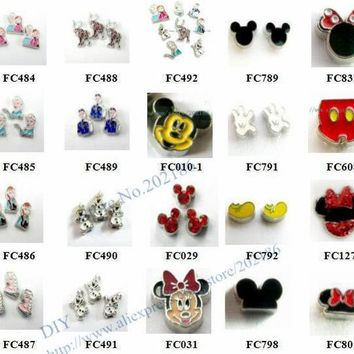 Multiples Options! 10pcs Alloy Popular Carton Movie Role Charms 3 Floating Charms For Float Memory Living Glass Lockets