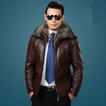 sheepskin coat for men genuine leather mens jacket park High quality Raccoon fur collar bomber leather jacket large size 6XL 532