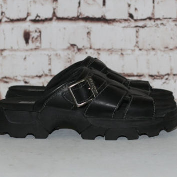 90s Chunky Sandals Black Leather US 9 Shoes Boots Platform Slip On Grunge Cyber Goth Pastel Punk Hipster Gothic Minimalist Club Kid Sporty