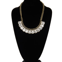 Antique Jeweled Necklace - Gold / One