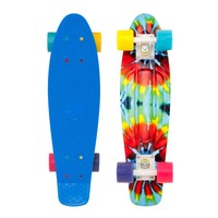 "Penny 22"" Tie Dye Blue/White/Multi-Color Mini 2013 Longboard Complete"