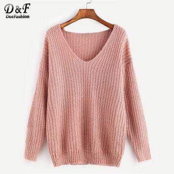 Pink Ribbed Knit V Neck Drop Shoulder Plain Sweater Long Sleeve Pullovers Autumn Loose Waffle Knit Sweater