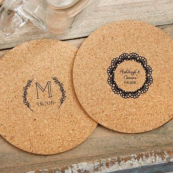 Personalized Round Cork Coasters - Rustic Charm Wedding (Set of 12)