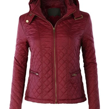 LE3NO Womens Quilted Detachable Hoodie Puffer Jacket with Faux Fur Lining