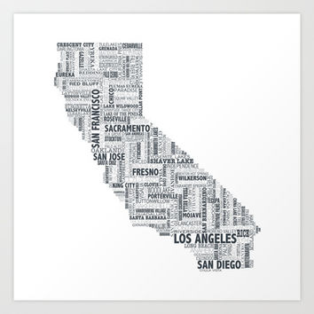 California Typography Map Art Print by Urban Footprint Design