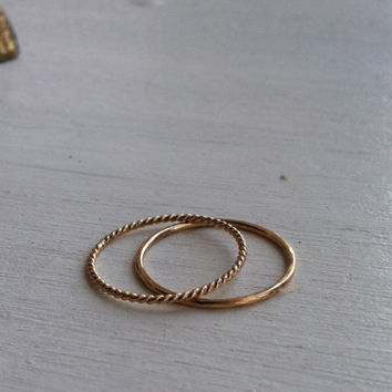 Set of 2 Contrasting 14k Gold Fill Stacking Rings, 2 Halves of Infinity, Best Friends, Mother Daughter, custom made to order