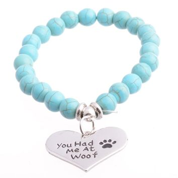 Heart You Had Me At Woof Cat Dog Pet Paws Bracelets Bangle Beads Women Men Best Friends BFF Charm Jewelry Gifts Party Wristband