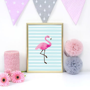 Flamingo Poster, Nursery Wall Decor, Flamingo Print, Baby Print Poster, Nursery Print, Happy Art, Kids Room Decor, Nursery Room Decor, 11x14